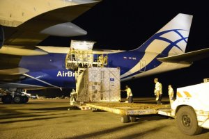 Galileo satellites unloaded from the Boeing 747
