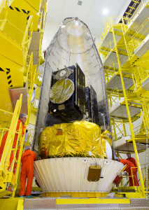 Satellites encapsulated by the two-piece protective payload fairing (I)