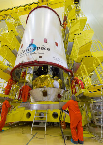 Satellites encapsulated by the two-piece protective payload fairing (II)