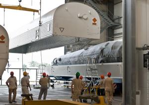 Soyuz segments arriving in French Guiana