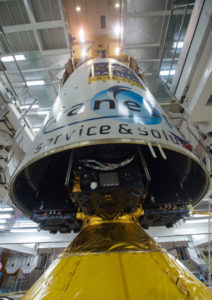Fairing lowered over the heavy-lift vehicle and its four Galileo satellites to complete launcher build-up