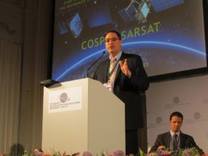 Steven Lett, Head of COSPAS-SARSAT Secretariat, talking in Munich.