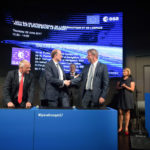 Signing the contract. ESA's Director of the Galileo Programme, Paul Verhoef (right) shakes hands with CEO of OHB, Marco Fuchs