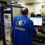 A scientist works on the Galileo satellite system